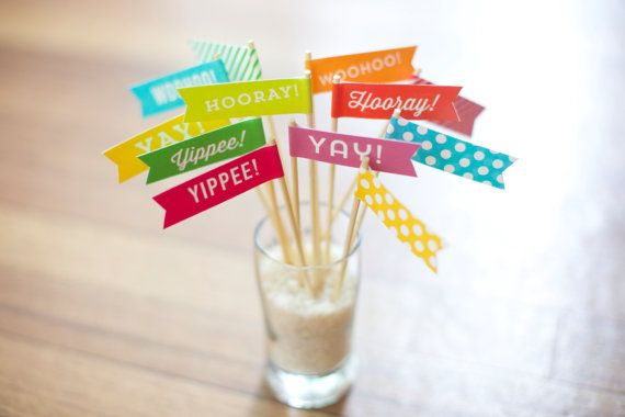 "Celebratory Small Flags - Cupcake Toppers - Drink Flags - They're just happy little flags that say ""Yay!"" ""Hooray!"" ""Woohoo!"" and ""Yippee!"" Pack of 12 - Multicolor or individual colors available."