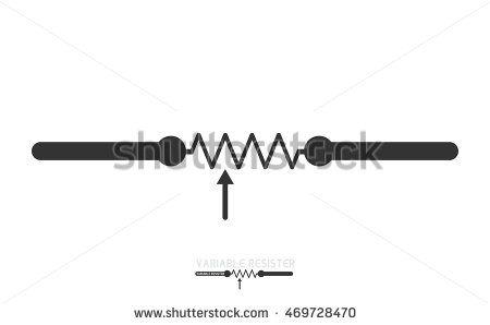 Potentiometer. Adjustable resistor . Electronic circuit symbols.