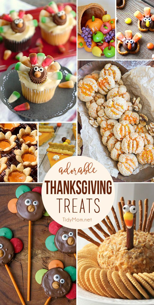 Everyone will want to join the kids table when they see these Adorable Thanksgiving Treats and party snacks. There's everything from turkey treats to harvest fare and everything in between! Adorable Thanksgiving Treats at TidyMom.net