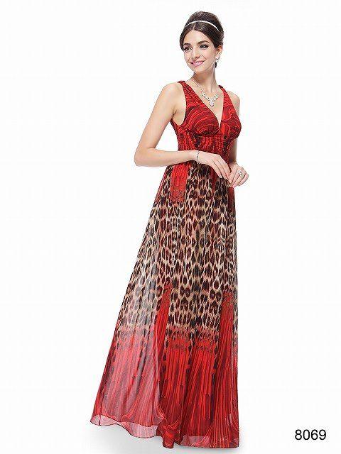 ワイルドレッド系Vネックロングドレス♪ - ロングドレス・パーティードレスはGN|演奏会や結婚式に大活躍!