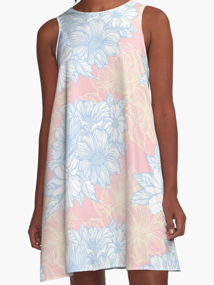 fine line flowers pattern blue and yellow on pink by #kanvisstyle ,#redbubble , #dress
