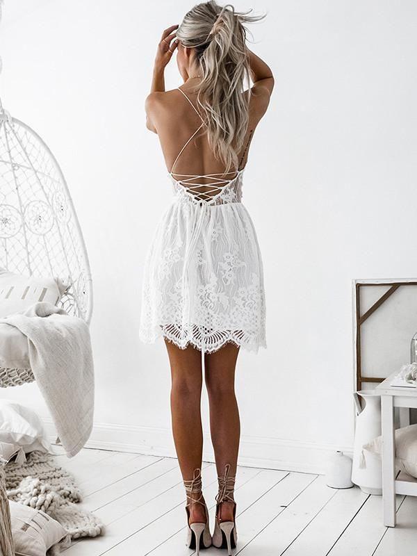 White V Neck Lace Up Back Scallop Hem Lace Cami Dress