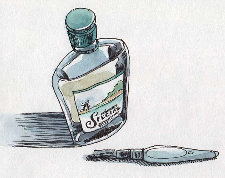 Watercolor sketching in very cold weather - fill a waterbrush with 50/50 water and vodka. (Nina Johansson blog)