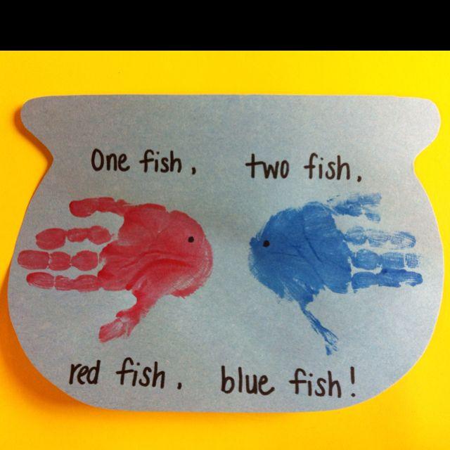 Happy Birthday Dr. Seuss! Hand print art.