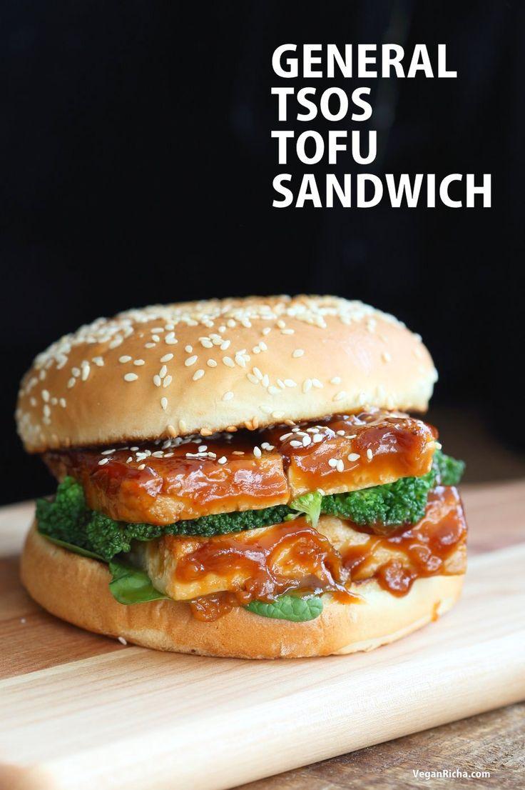 General Tso's Tofu Sandwich. Vegan General Tso Sauce Recipe. Bake the tofu or pan fry, add blanched veggies, make a sandwich or wrap. Vegan Nut-free Recipe.