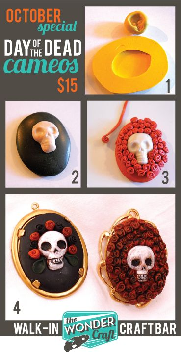 1.Start out with our skull mold & cameo base mold. 2. After working clay, press it into the molds, trim as needed. Here is where you'll plan your design. We added simple roses (formed by rolling up flattened strips of clay). You could add hats, hair, different flowers, etc. 4.After baking we painted the skulls, added a black wash to the roses for a vintage feel. Then we mounted them onto the golden bases, ready to wear.