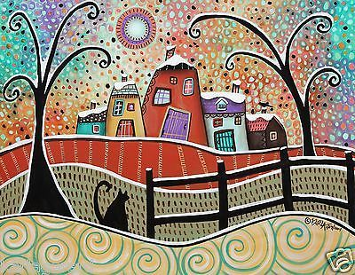 Watching 14x11 Houses Cat Bird PAINTING ORIGINAL ABSTRACT FOLK ART Karla Gerard..brand new painting, now for sale..