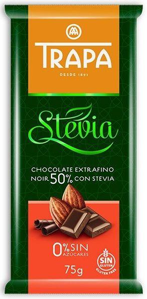Trapa Chocolate Extrafino Noir 50% con Stevia... Μαύρη σοκολάτα 50% κακάο με στέβια. Ωραίο διαφορετικό άρωμα από κακάο και νότες από άρωμα στέβιας. Νόστιμη με διακριτό το κακάο, ισορροπιμένα γλυκιά χωρίς να λιγώνει ούτε να πικρίζει. Αρκετά ευχάριστη γεύση.