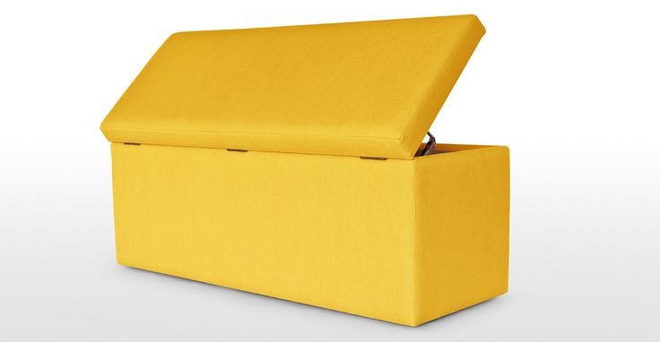 The Decker Storage Bench in dandelion yellow is very versatile - use it as a blanket box, toy box or general storage.