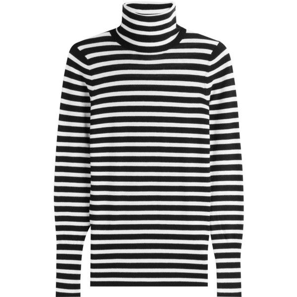 Steffen Schraut Striped Knit Pullover (9.610 RUB) ❤ liked on Polyvore featuring tops, sweaters, stripes, black and white sweater, turtleneck sweater, long sleeve sweater, knit pullover sweater and pullover sweaters