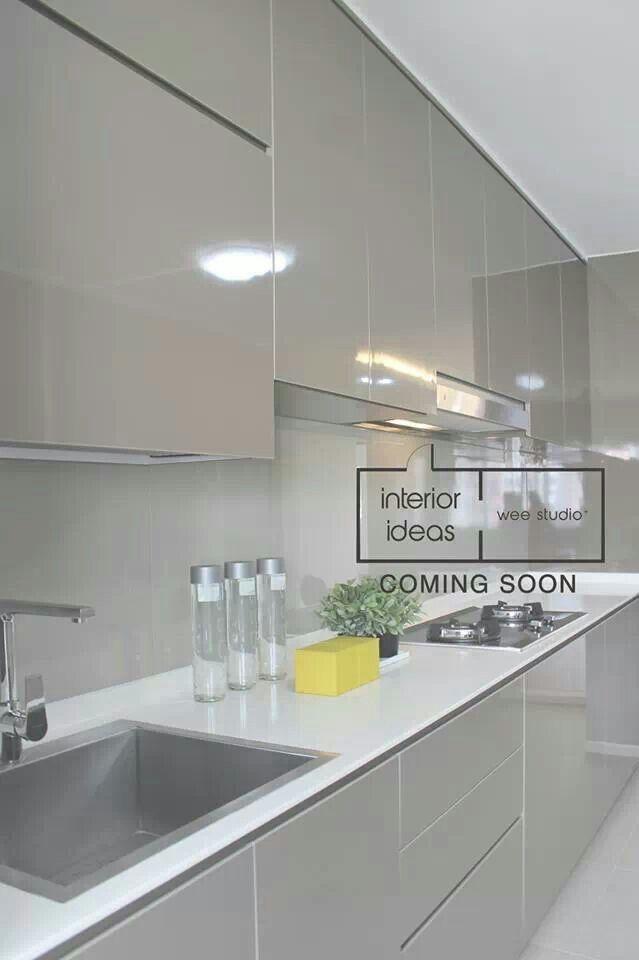 Wee studio. Light grey kitchen cabinets. Alternative to