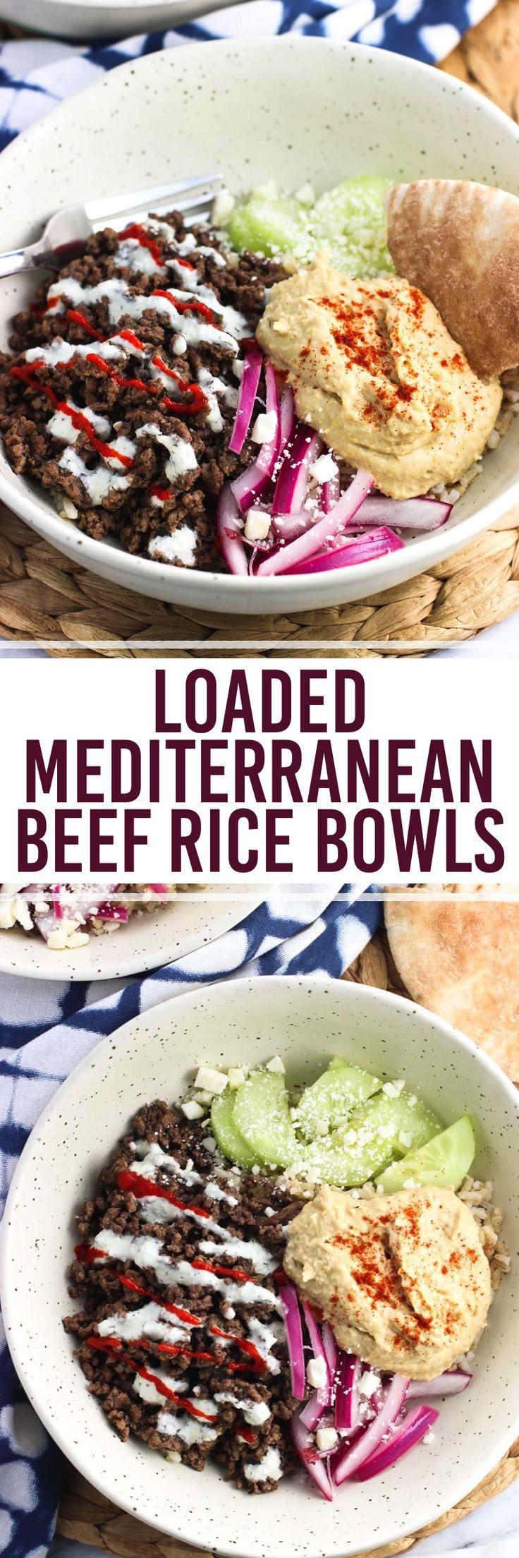 Mediterranean-spiced beef, hummus, cucumber, yogurt sauce, pickled red onion, and feta are served over brown rice for a healthy beef rice bowl recipe.