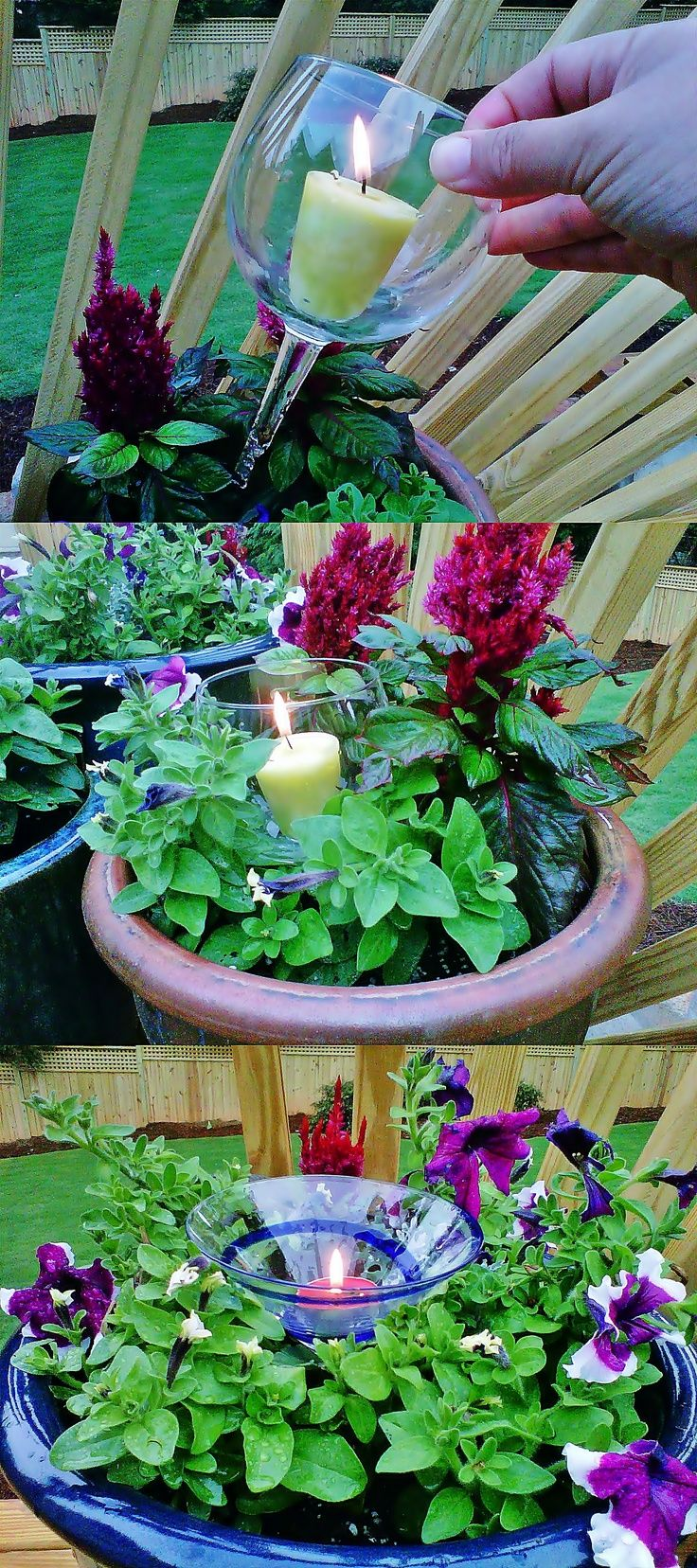 Instead of throwing out broken stem-ware, pop a candle in it and stick it down in a plant. Beautiful at night and you can use citronella candles to keep bugs away!!