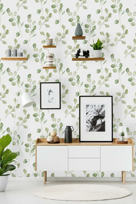 Meleri Removable Green Leaves On White Background 8 33 L X 25 W Peel And Stick Wallpaper Roll Peel And Stick Wallpaper Removable Wallpaper Kitchen Wallpaper
