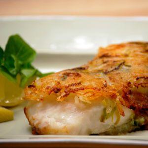 Filetes de peixe-espada preto com batata-doce