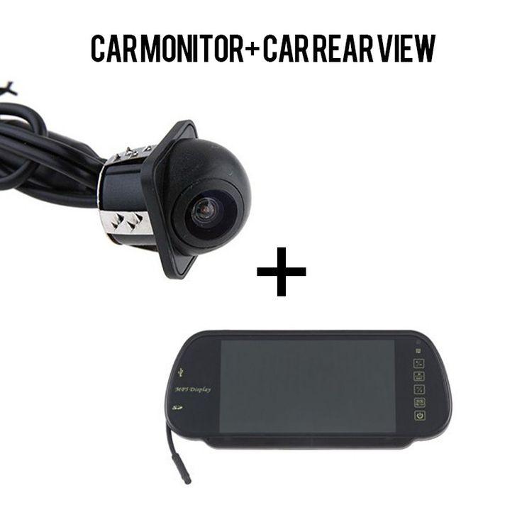 Car Rear View Mirror Monitor Auto Vehicle Parking Rearview Monitor RVC-201 + E318 Car Rear View Camera Reverse Backup Camera