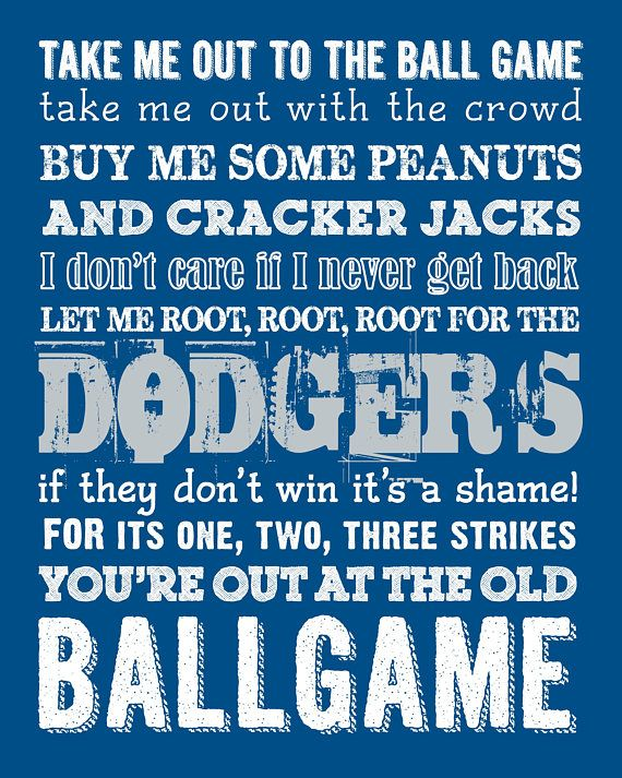 Los Angeles Dodgers Take Me Out to the Ballgame JPG Printable