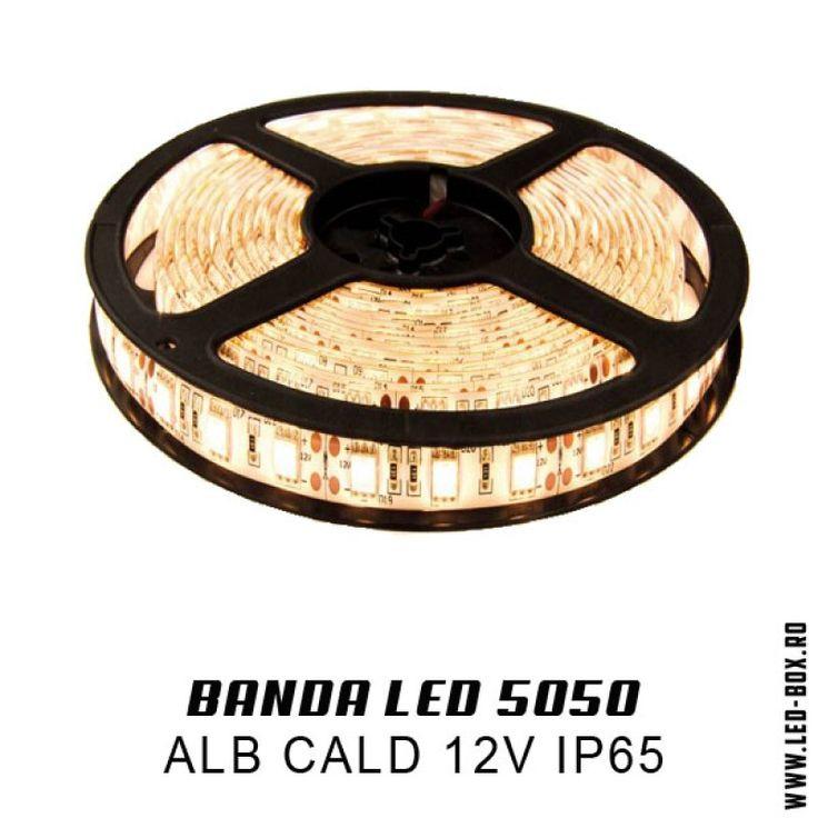 BANDA LED  5050 ALB CALD IP65