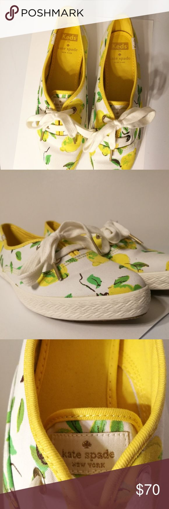 Kate Spade Limited Edition Keds Lemon Pointers a painterly lemon print--inspired by capri-- adds a cheeky kate spade new york flourish to a classic pair of keds canvas sneakers. pair them with with your favorite capris or a flouncy mini skirt.  Shoes are pre-owned, and were used, bottoms have expected stains from use, but sides, tops and all around are in excellent shape. kate spade Shoes Athletic Shoes
