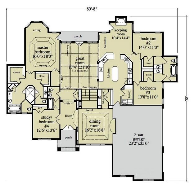 House plan 957 00023 ranch plan 3 120 square feet 4 for House plans with keeping rooms