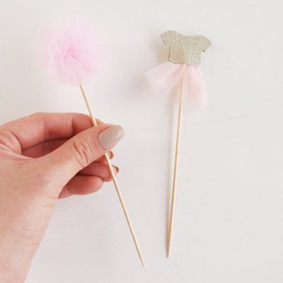 12 Pink And gold tutu Cupcake Toppers tutu and Pom by evescrafts