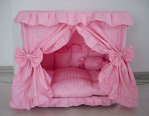 Gorgeous Handmade Princess Pet Dog Cat  Bed House + 1 Candy Pillow