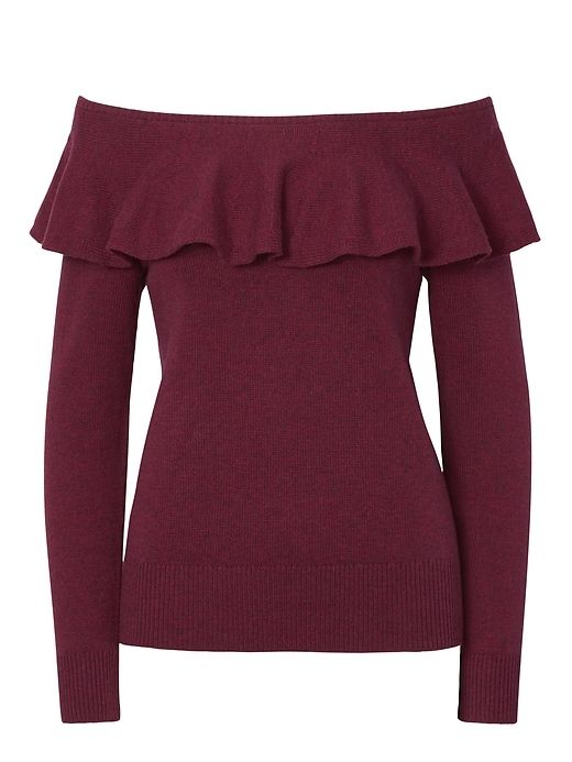 Banana Republic Womens Feather Touch Ruffle Off-The-Shoulder Sweater Burgundy