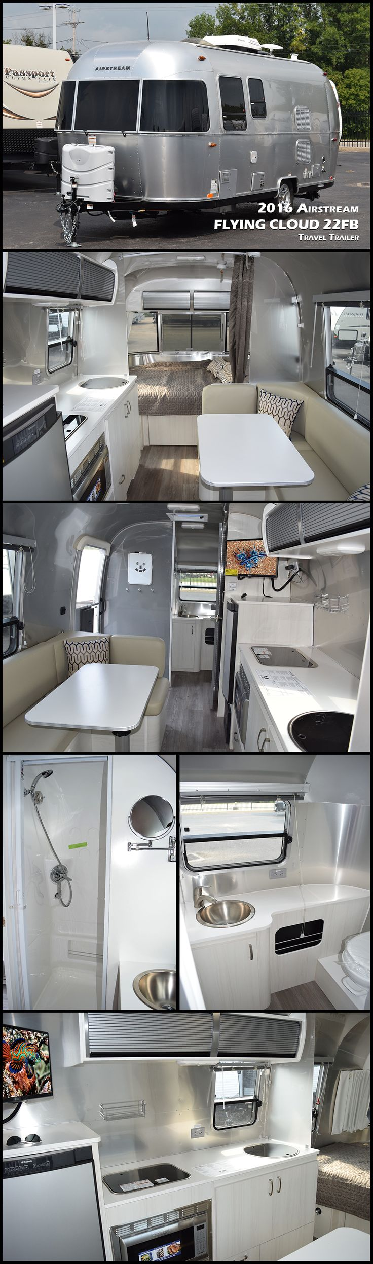 "The 2016 AIRSTREAM FLYING CLOUD 22FB travel trailer invites you inside with the flair of modern design. Compared to its ""box-shaped"" competitors, it'll last longer, require less maintenance, offer better stability when towing, and cost less at the fuel pump."