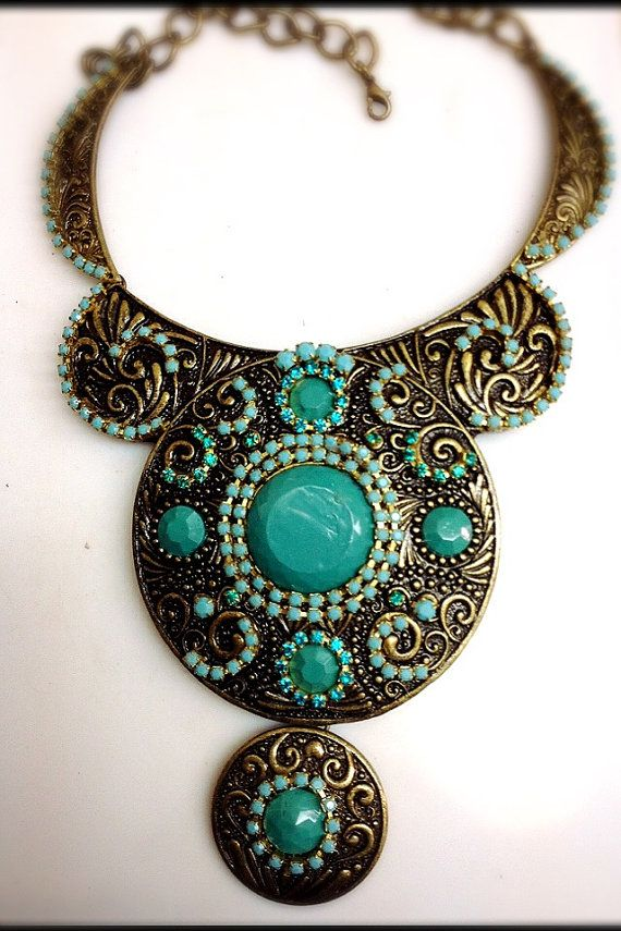Statement Ethnic Necklace  Turquoise beads by RachelGefenDesigns, ₪420.00