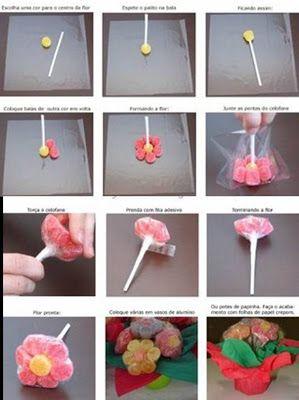 PRIMAVERA    Lembrança entregue na escola dominical.          Material   balas de goma (6 das mesma cor e um diferente para o miolo da flor)...