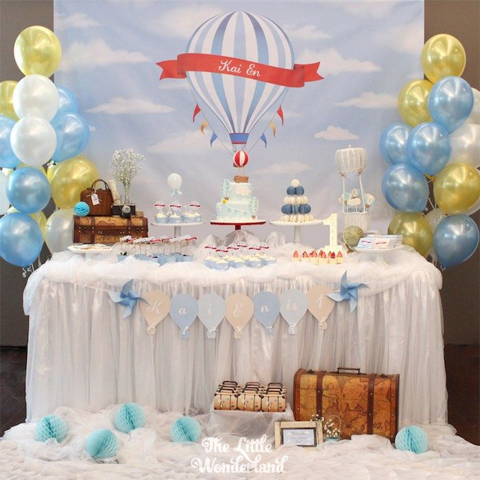 Paper Cut Out Blue Balloons First Birthday Decoration: Dessert Table From A Vintage Hot Air Balloon Birthday