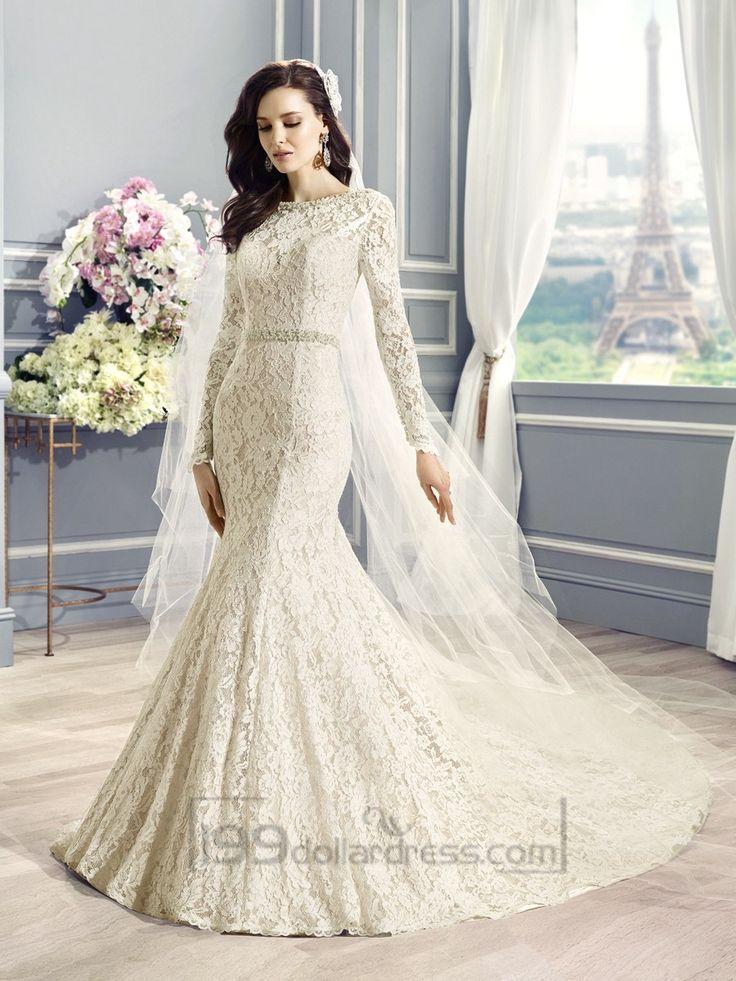 Long Sleeves Bateau Neckline Lace Embellished Mermaid Wedding Dress with Deep V-back