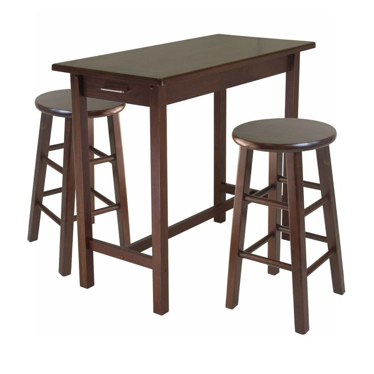 Winsome Wood 3-Piece Breakfast Table with 2 Square Leg Stools. Winsome Wood 3-Piece Breakfast Table with 2 Square Leg Stools