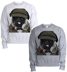 Unisex pug Sherlock sweater at www.ilovepugs.co.uk sizes s-xxl post worldwide