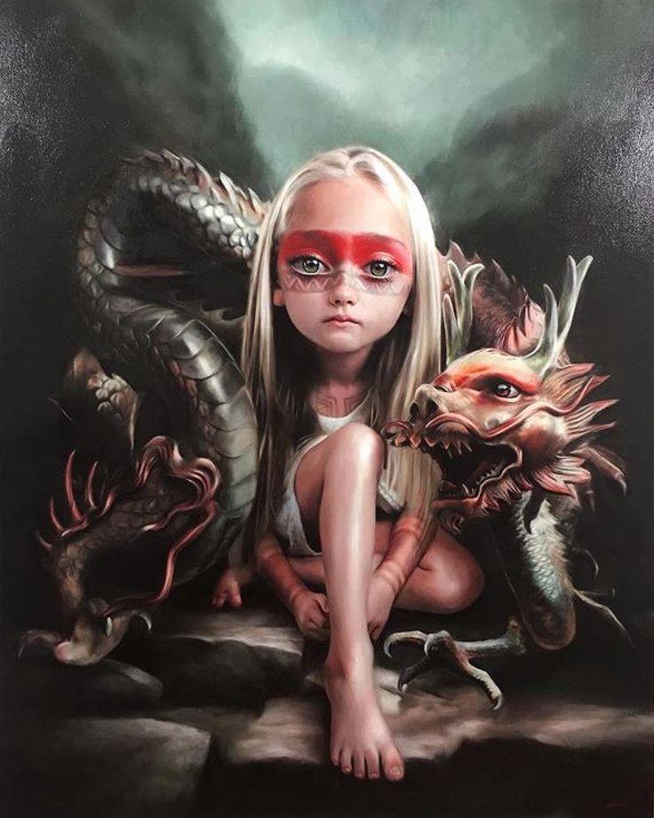 Knappe illustratie meisje met draak. Waw!
