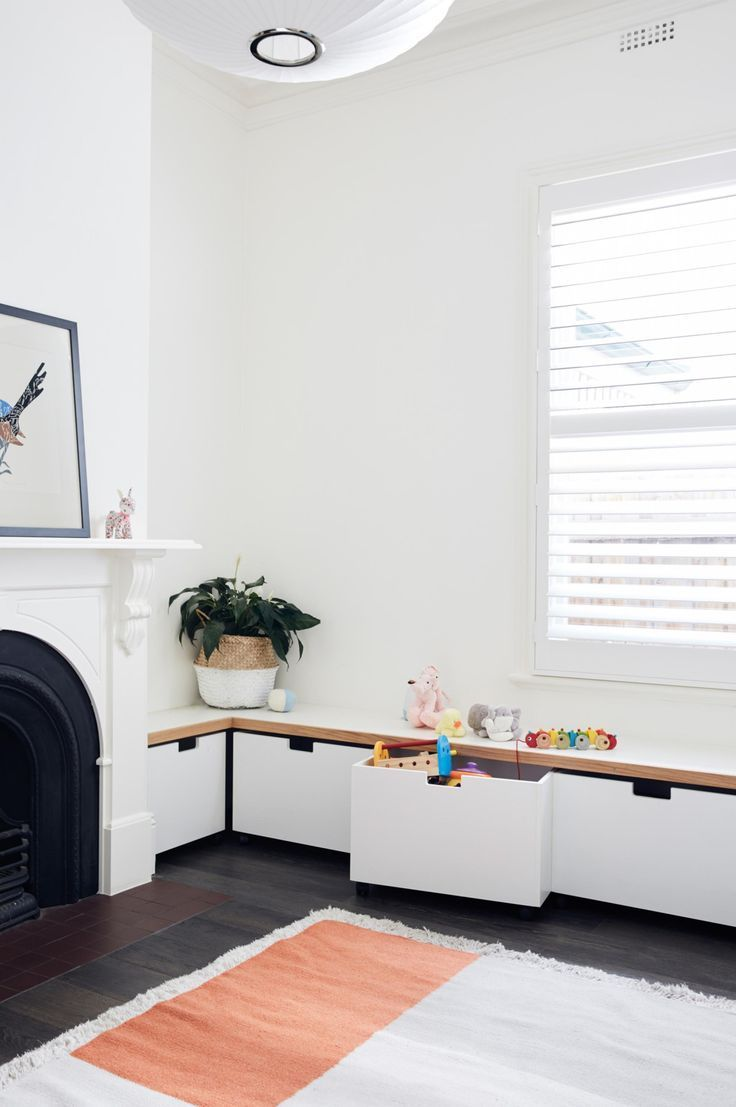 Bench and toy storage for kids' room