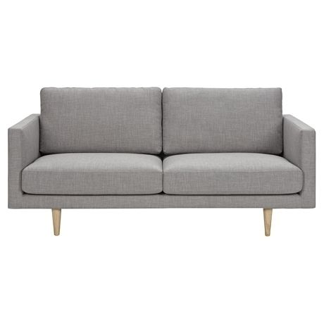 Scandinavian 2.5 seater grey fabric couch sofa lounge South Yarra Stonnington Area image 1