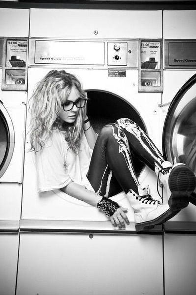 Black and white modeling photography. Haha. love that she is in a washing machine!