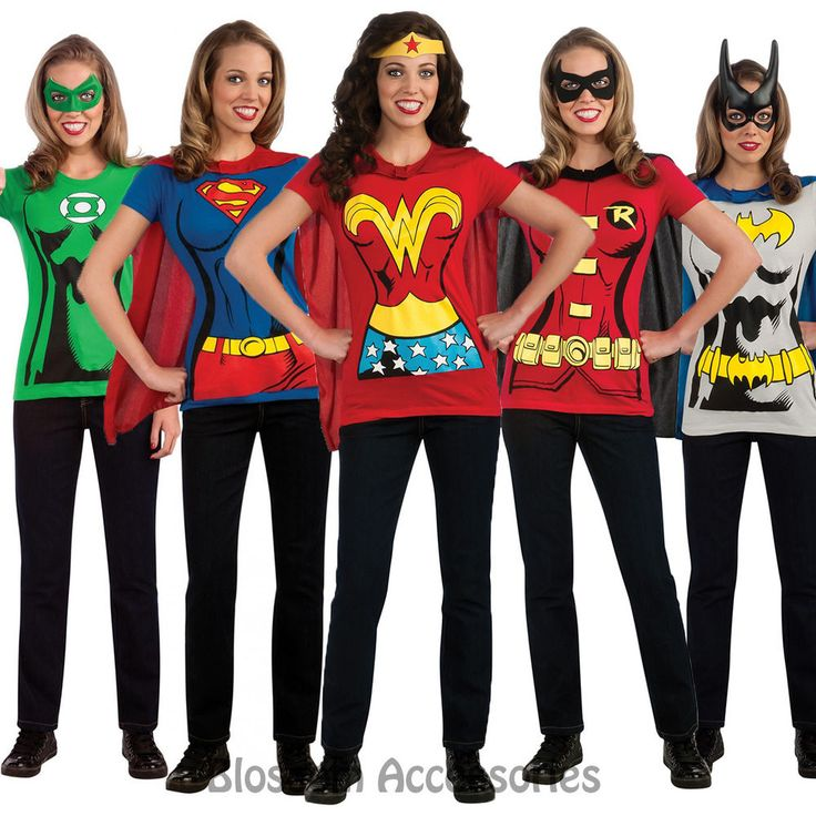C956 Superhero T-Shirt Women Costume Wonder Woman Robin Supergirl Batgirl & Cape