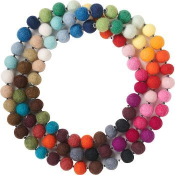 A necklace made of felt wool beads in a rainbow of fantastic colors. Bright, hip and funky, this stylish accessory will accent your attire this season.<br /><br />Size - 60