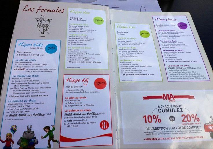 Hippopotamus - Paris, France. Formules Menu pour Enfants