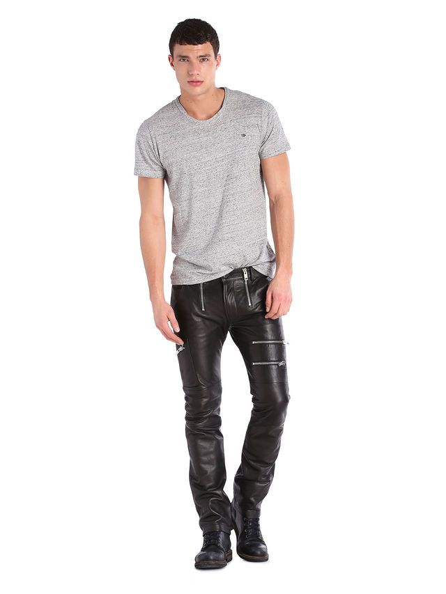 Best fashion men diesel leather jeans and t shirt for Boys pants and shirts