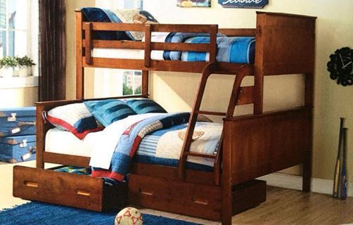 Bunk bed double single with drawers Solid timber white NEW