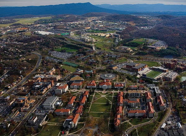 A birds eye view of James Madison University