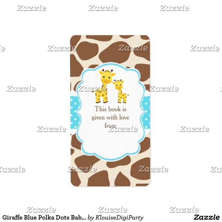 Giraffe Blue Polka Dots Baby Shower Bookplate