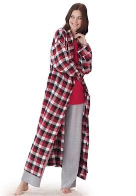 Plaid flannel robe by Dreams & Co.® | Plus Size Robes | fullbeauty.com  -  pajamas, warm, winter, cotton.       lj