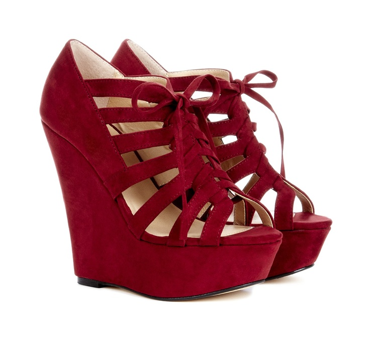 Open toe lace up platform wedge