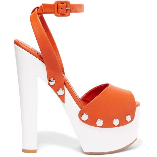 Giuseppe Zanotti Leather platform sandals (£248) ❤ liked on Polyvore featuring shoes, sandals, orange, orange sandals, strappy sandals, orange strappy sandals, studded sandals and leather high heel sandals