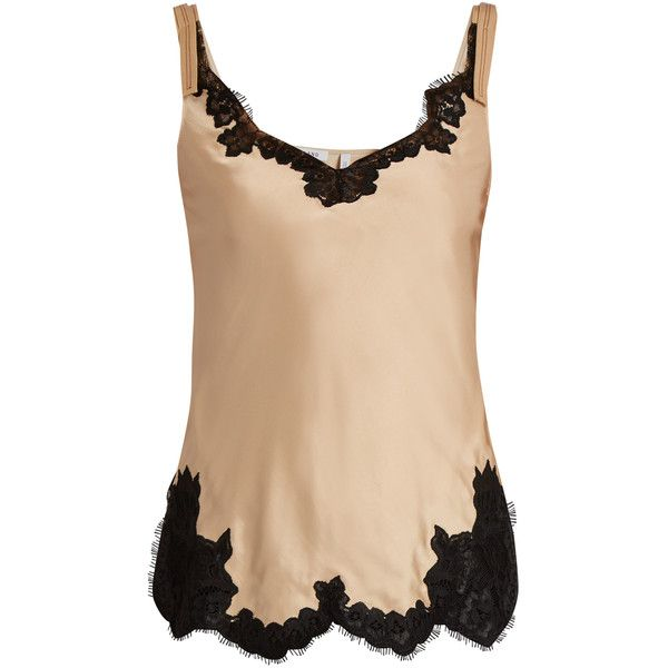 Helmut Lang Lace-trimmed satin cami top ($380) ❤ liked on Polyvore featuring tops, satin camisole tops, holiday tops, satin camisole, beige tank top and nude tank top