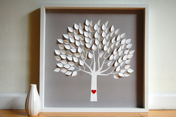 Awesome guestbook idea.  Just buy a shadow box, cut out paper leaves for each person to sign, and after the wedding glue the leaves on the tree.  This one is almost $200 on etsy, but could easily be made for like 30 bucks.  Soooo doing this!: Guest Book Alternatives, Guestbook Ideas, Guest Books Alternative, Families Trees, Wedding Trees, Books Ideas, Wedding Guest Books, Paper Trees, Personalized 3D